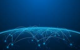 Fondo digitale astratto di concetto dell'innovazione di tecnologia del modello di struttura della mappa di mondo illustrazione vettoriale