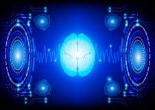 Fondo digitale astratto di concetto di tecnologia del cervello Immagine Stock