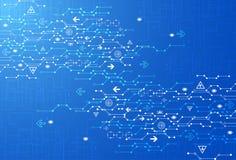 Fondo digitale blu astratto di tecnologia della comunicazione illustrazione di stock