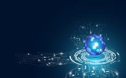 Fondo digitale di concetto dell'estratto del globo di tecnologia Immagini Stock Libere da Diritti