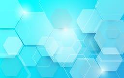 Fondo digitale di concetto di esagoni di tecnologia di tecnologia blu astratta ciao immagini stock