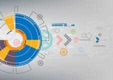 Fondo digitale di tecnologia della comunicazione astratta, progettazione di rete futuristica di media Fotografie Stock