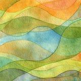 Fondo dipinto acquerello astratto dell'onda Fotografia Stock