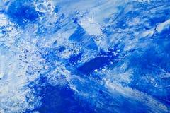 Fondo dipinto bianco e blu dell'olio artistico dell'estratto Struttura, contesto immagini stock libere da diritti