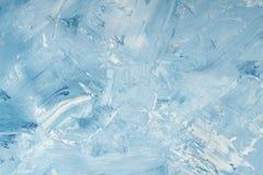 Fondo dipinto bianco e blu dell'olio artistico dell'estratto Struttura, contesto fotografia stock libera da diritti