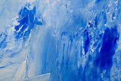 Fondo dipinto bianco e blu dell'olio artistico dell'estratto Struttura, contesto immagine stock
