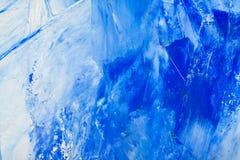 Fondo dipinto bianco e blu dell'olio artistico dell'estratto Struttura, contesto fotografia stock