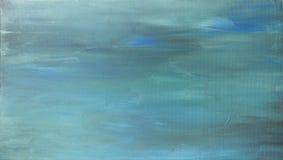 Fondo dipinto a mano acrilico dell'estratto del blu di turchese immagine stock