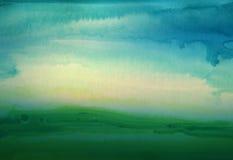 Fondo dipinto a mano del paesaggio dell'acquerello astratto Fotografia Stock Libera da Diritti