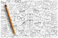 Fondo disegnato a mano del negozio degli occhiali Immagine Stock Libera da Diritti