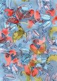 Fondo disegnato a mano dell'acquerello con i fiori di campane blu e rossi della mano sulle sedere blu Fotografia Stock
