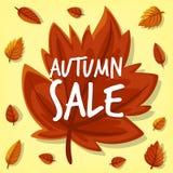 Fondo disegnato a mano dell'insegna di vendita della foglia di autunno del fumetto di vettore illustrazione vettoriale