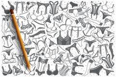 Fondo disegnato a mano della biancheria intima Fotografia Stock