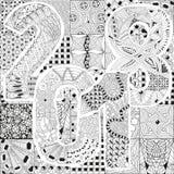 Fondo disegnato a mano dello zentangle per la pagina di coloritura Numero 2018 Illustrazione Vettoriale
