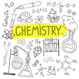 Fondo disegnato a mano di chimica Insieme degli scarabocchi di scienza Di nuovo all'illustrazione del banco Fotografie Stock