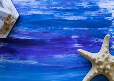Fondo disegnato a mano nautico di gouache Immagini Stock Libere da Diritti