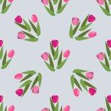 Fondo disegnato a mano romantico di vettore con i tulipani Tulipani senza cuciture d'annata del modello royalty illustrazione gratis