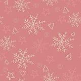 Fondo disegnato a mano senza cuciture dei fiocchi di neve. Immagini Stock