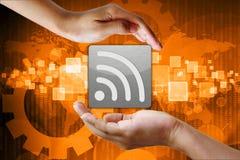Fondo disponible del negocio del símbolo de Wifi Foto de archivo