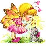 Fondo divertente del fatato dei bambini Illustrazione dell'acquerello Immagini Stock