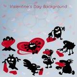 Fondo divertente dell'estratto di giorno di biglietti di S. Valentino con il mostro Fotografia Stock Libera da Diritti