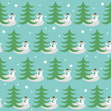 Fondo divertente di vacanza invernale con il pupazzo di neve Fotografia Stock
