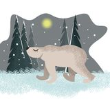 Fondo divertente sveglio con l'orso polare nella parte anteriore illustrazione vettoriale