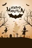 Fondo divertido de Halloween con el palo y la casa encantada fotos de archivo