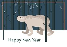 Fondo divertido lindo con el oso polar en el frente ilustración del vector