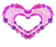 Fondo doble del corazón de la flor. Fotos de archivo