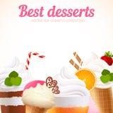 Fondo dolce di vettore dei dessert del gelato Fotografie Stock Libere da Diritti