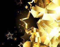 Fondo dorato astratto con le stelle illustrazione vettoriale