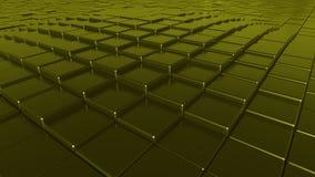 Fondo dorato dei piatti, rappresentazione 3D Immagini Stock