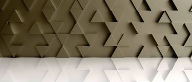 Fondo dorato del contesto del modello del triangolo sul pavimento bianco 3d Fotografia Stock
