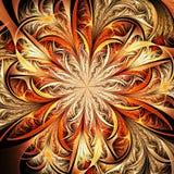 Fondo dorato del fiore di frattale illustrazione vettoriale