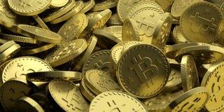 Fondo dorato di Bitcoins illustrazione 3D Immagini Stock