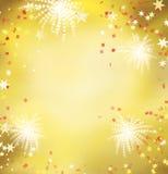 Fondo dorato di celebrazione del fuoco d'artificio Fotografia Stock