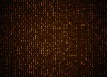 Fondo dorato di codice binario di vettore Grandi dati ed incisione di programmazione, decrittazione profonda e crittografia, comp royalty illustrazione gratis