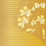 Fondo dorato di lusso con il motivo floreale nello stile di art deco Fotografia Stock
