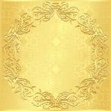 Fondo dorato di lusso con patte floreale d'annata Fotografia Stock