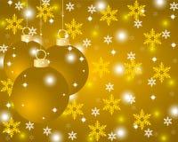 Fondo dorato di Natale con le palle di Natale Immagini Stock