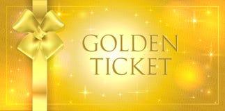 Fondo dorato di scintillio del volume di vettore con arco e nastro di seta dell'oro il doppi Biglietto dell'oro con la lucentezza immagine stock