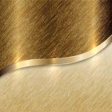 Fondo dorato di struttura di vettore con la linea della curva Fotografia Stock