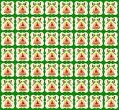 Fondo dorato di verde della carta da parati di Bell di Natale Immagini Stock