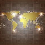 Fondo dorato di vettore della mappa di mondo Fotografia Stock