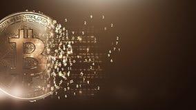 Fondo dorato digitale del bitcoin del ciclo stock footage