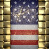 Fondo dorato dipinto alla bandiera degli Stati Uniti Fotografie Stock Libere da Diritti