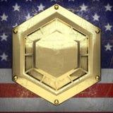 Fondo dorato dipinto alla bandiera degli Stati Uniti Fotografia Stock