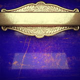 Fondo dorato dipinto in blu Fotografie Stock