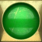 Fondo dorato dipinto nel verde Fotografie Stock Libere da Diritti